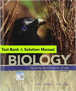 Test Bank for Biology: The Unity and Diversity of Life 15th Edition Cecie Starr , Ralph Taggart , Christine Evers , Lisa Starr , © 2019 1