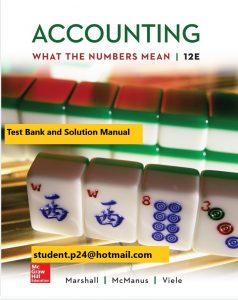 Accounting What the Numbers Mean 12th Edition By David Marshall and Wayne McManus and Daniel Viele © 2020 Test Banks