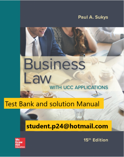 Business Law with UCC Applications 15th Edition By Paul Sukys © 2020 Test Bank and Solution Manual 1 820x1024 1