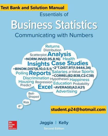 Essentials of Business Statistics 2nd Edition By Sanjiv Jaggia and Alison Kelly © 2020 Test Bank and Solution Manual 800x1024 1