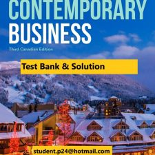 Contemporary Business, 3rd Canadian Edition Boone, Kurtz, Khan, Canzer 2020 Test Bank Instructor Solution Manual