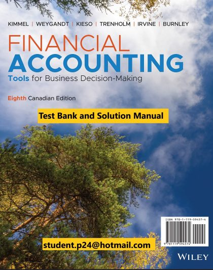 Financial Accounting Tools for Business Decision Making 8th Canadian Edition Kimmel Weygandt Kieso Trenholm Irvine Burnley Test Bank and Solution Manual